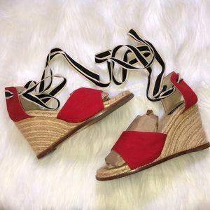 Kate Spade Red Tie Up Wedges 38